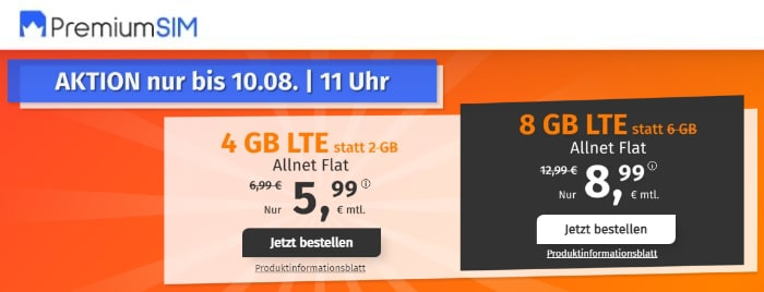 PremiumSIM LTE S + L Aktion Anfang August 2021