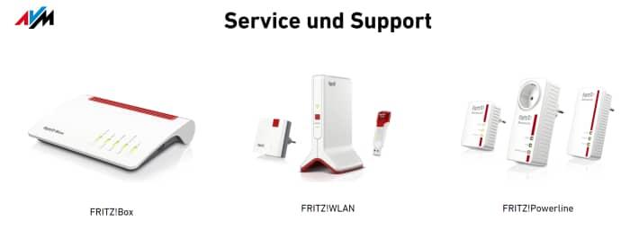 Service und Support bei AVM (Screenshot von avm.de)