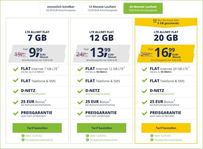 freenet mobile Allnet Flat Tarife