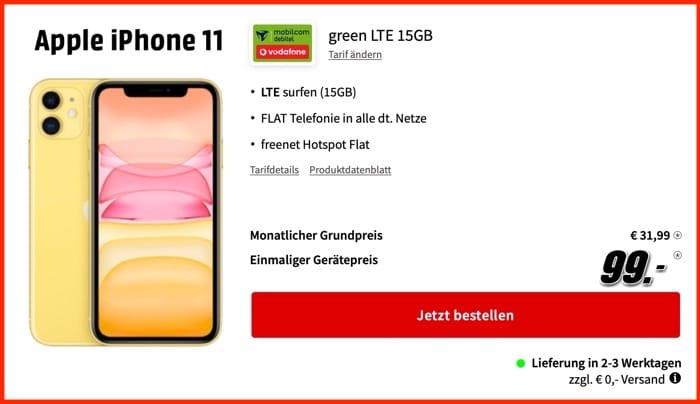 Apple iPhone 11 + md green LTE 15 GB im Vodafone-Netz
