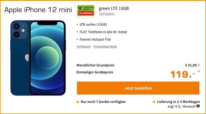 Apple iPhone 12 Mini + green LTE 15GB Vodafone bei Saturn