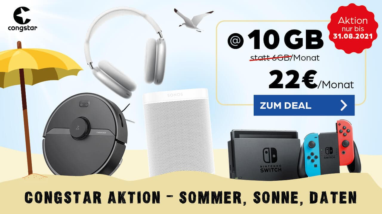 Nintendo Switch + congstar Allnet-Flat S im Telekom-Netz mit 22 € Grundgeb+ühr - Allnet-Flat + 10 GB LTE