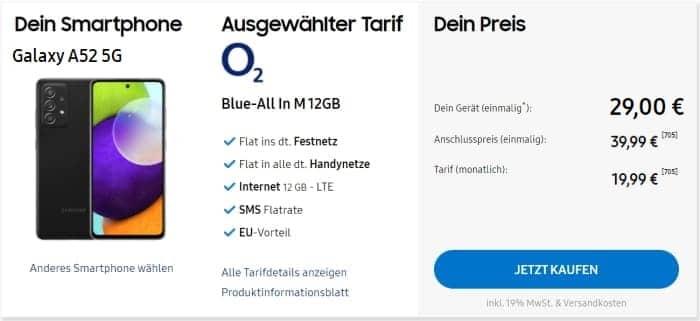 Samsung Galaxy A52 5G mit o2 Blue All In M