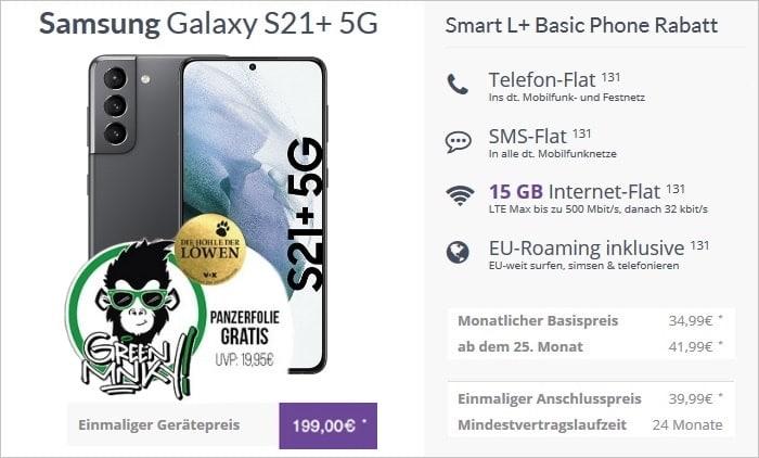 Samsung Galaxy S21 Plus 5G + Vodafone Smart L Plus bei Flymobile