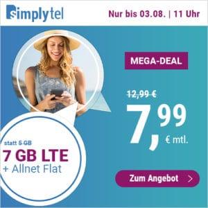 Simplytel Juli Aktion 7GB LTE 5000