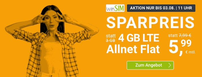 winSIM LTE All 4GB und 8GB Aktion Juli 2021