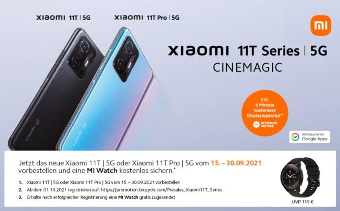 Xiaomi 11T Series Vorbesteller Aktion - Gratis Xiaomi Mi Watch zu jedem Xiaomi 11T und Xiaomi 11T Pro