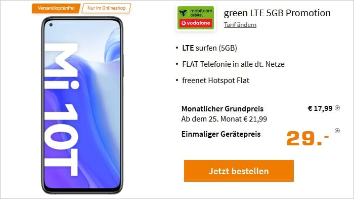 Xiaomi Mi 10T mit md green LTE 5GB im Vodafone-Netz bei Sautrn