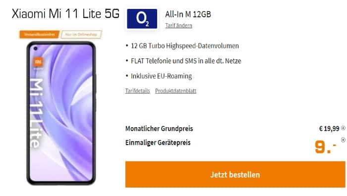 Xiaomi Mi 11 Lite 5G + 12 GB LTE für eff. @@@ mtl. (Tarif: o2 Blue All-In M) + Ventilator