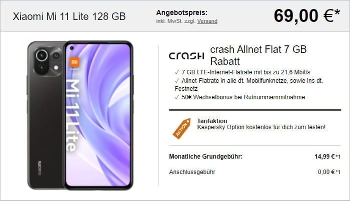 Xiaomi Mi 11 Lite + crash Allnet Flat bei LogiTel