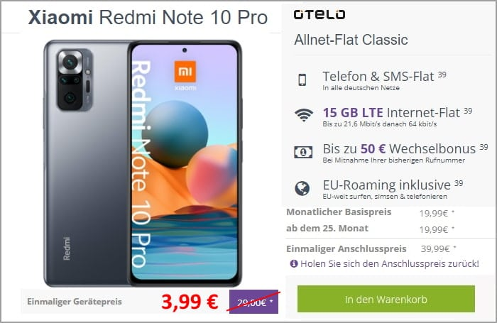 Xiaomi Redmi Note 10 Pro + otelo Allnet Flat Classic bei FLYmobile