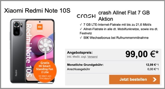 Xiaomi Redmi Note 10S + crash Allnet Flat bei logitel