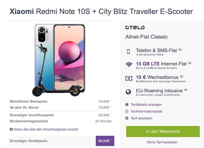 Xiaomi Redmi Note 10S + otelo Allnet-Flat bei FLYmobile