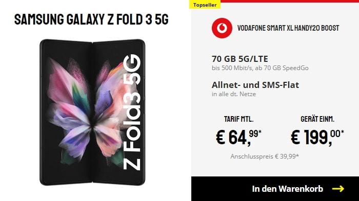 Samsung Galaxy Z Fold 3 5G + Vodafone Smart XL bei Sparhandy
