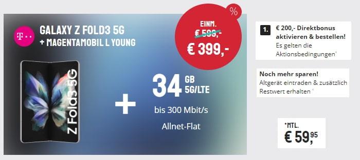 Samsung Galaxy Z Fold 3 5G + Telekom MagentaMobil L Young bei Sparhandy
