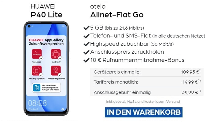 Huawei P40 Lite zur otelo Allnet-Flat Go bei Preisboerse24