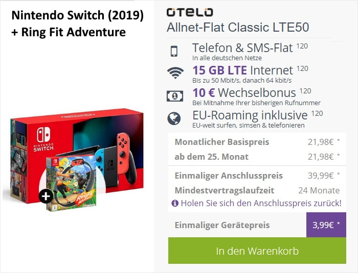 Nintendo Switch (2019) + Ring Fit Adventure + otelo Allnet Flat Classic LTE50 bei FLYmobile