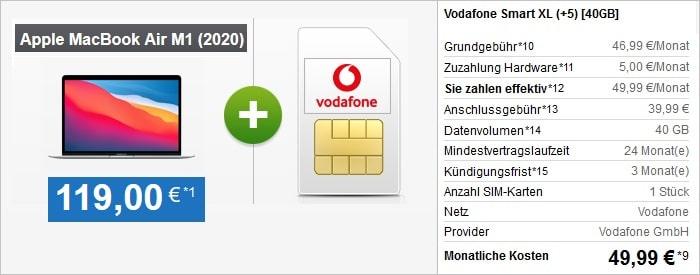 Vodafone Smart XL mit Macbook Air M1 bei handytick