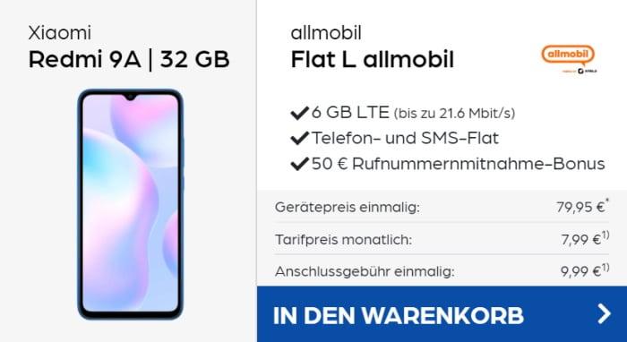 Xiaomi Redmi 9A + allmobil Flat L bei Preisboerse24
