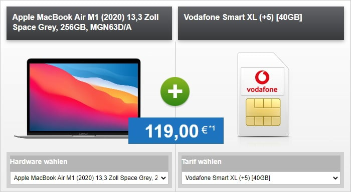 Apple MacBook Air (2020, M1) + Vodafone Smart XL bei HandyTick