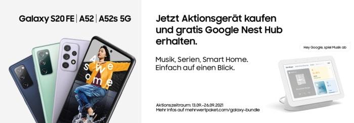 Samsung Aktion zu Galaxy A52, Galaxy A52s 5G, Galaxy S20 FE, Galaxy S20 FE 5G mit gratis Google Nest Hub