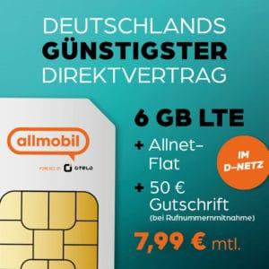 Top! Günstigste Allnet-Flat + 6 GB LTE nur 7,99 € monatlich (Tarif: allmobil Flat L)