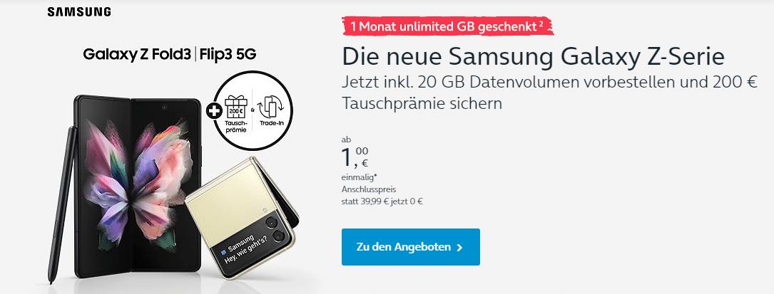 Samsung Galaxy Z Flip 3 und Z Fold 3 bei o2 mit Tarif bestellen