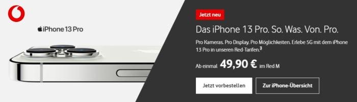 Apple iPhone 13, Pro, mini, Pro Max mit Vodafone Red Tarif günstig bestellen