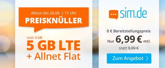 sim.de LTE All 4 GB Aktion September 2021