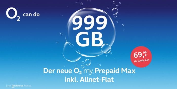 o2 my Prepaid Max mit 999 GB LTE ab 05. Oktober 2021 verfügbar