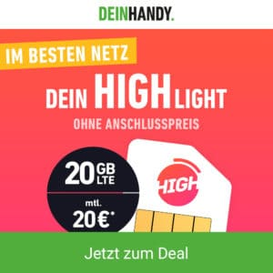 High Tarif mit 20 GB LTE + Allnet-Flat im Telekom-Netz - nur 20 € Grundgebühr