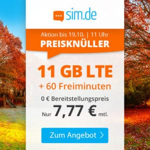 sim.de LTE 11 GB Aktion Oktober 2021 Thumbnail