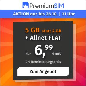 PremiumSIM Aktionstarif mit Allnet-Flat und 5 GB LTE mit nur 6,99 € Grundgebühr