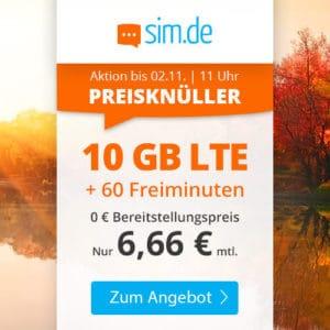 sim.de LTE 10 GB Aktion Oktober 2021 Thumbnail